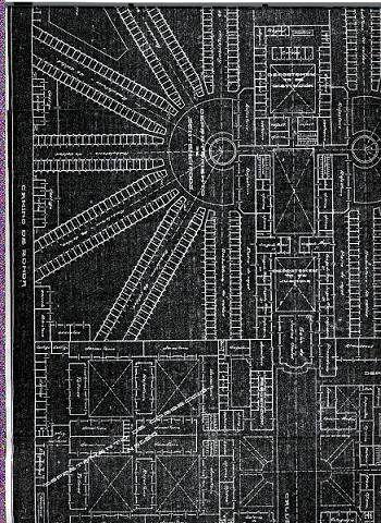 """Un plano de la disposición en planta de la prisión, conocido como estilo """"panopticón"""""""